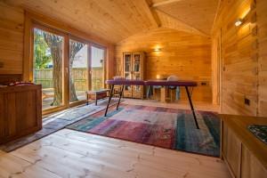 Working area of the studio, wood floors